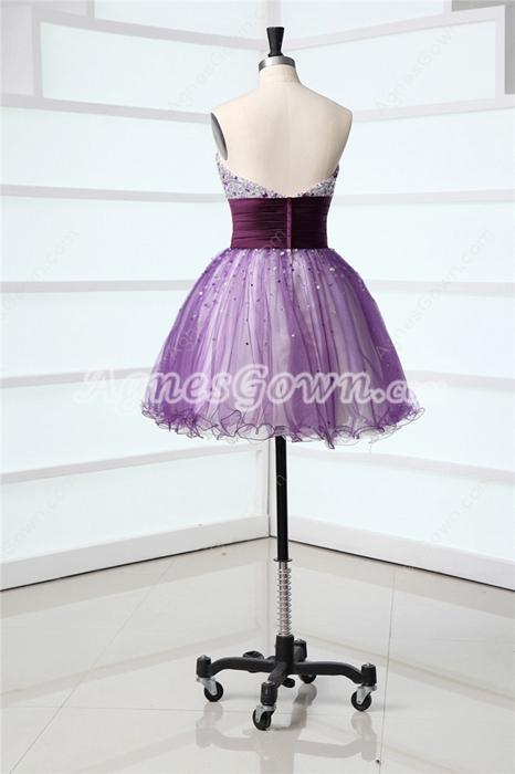 Classy Strapless Mini Purple Cocktail Dresses