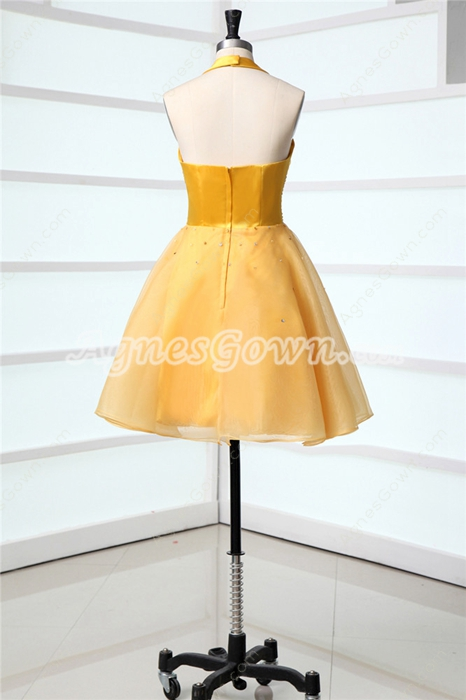 Lovely Halter Gold Mini Sweet 16 Dresses