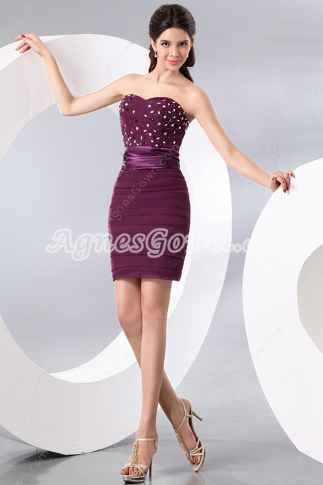 Sexy Shallow Sweetheart Sheath Mini Length Grape Colored Cocktail Dress