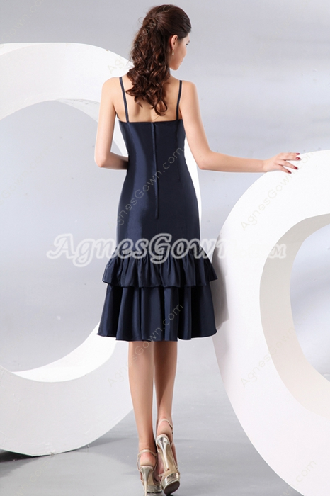 Spaghetti Straps Dark Navy Flare Skirt Wedding Guest Dress