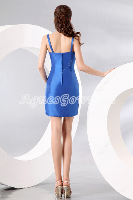 Simple Blue Straps Royal Blue Satin Mini Length Cocktail Dress