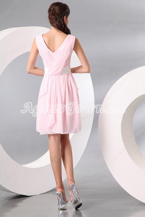 V-Neckline Mini Length Pink Chiffon Homecoming Dress