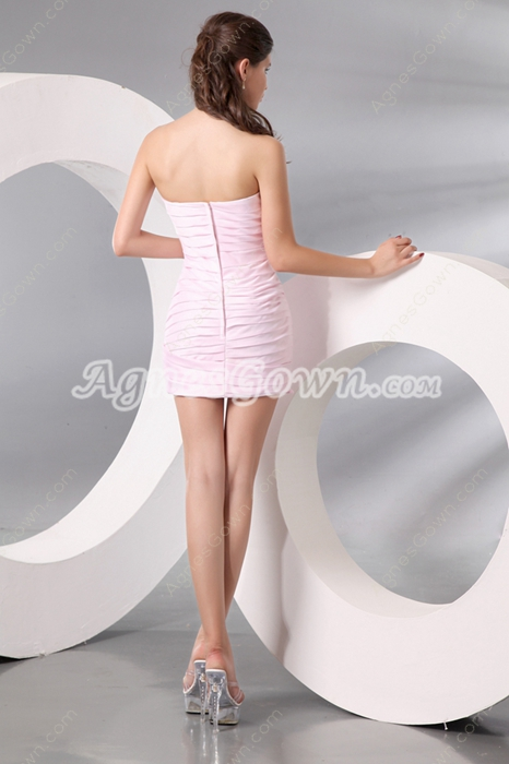 Hot Strapless Sheath Mini Length Light Pink Bandage Dress