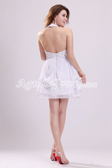 Sexy Halter Chiffon Backless White Cocktail Dress