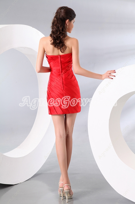 Sexy Sheath Mini Length Red Satin Little Bandage Dress
