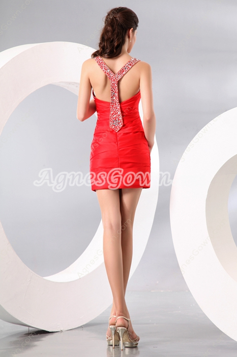 Fitted Double Straps Mini Length Red Satin Cocktail Dress For Wedding
