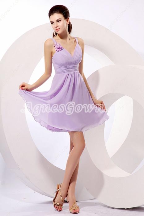 Short Length Lilac Chiffon Homecoming Dress