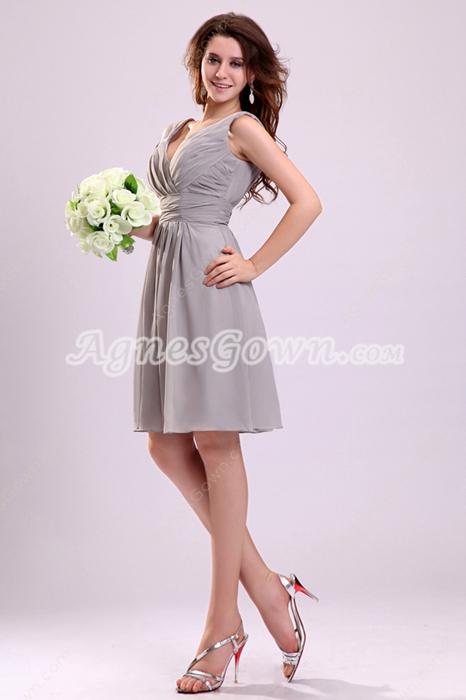 Sexy Deep V-Neckline Chiffon A-line Knee Length Silver Grey 8th Grade Graduation Dress
