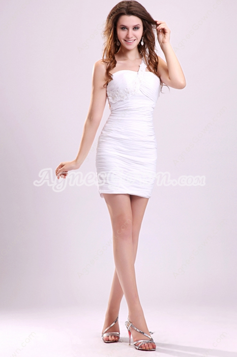 Sexy One Shoulder Sheath Mini Length Little White Cocktail Dress