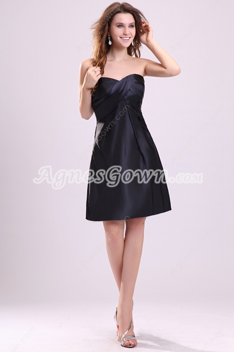 Mini Length Sweetheart Neckline Black Cocktail Dress