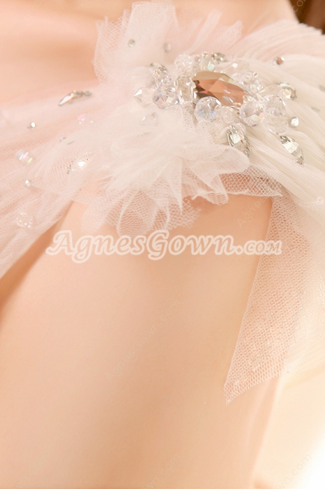 Lovely One Shoulder Puffy White Tulle Sweet Fifteen Dress Corset Back
