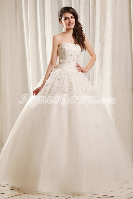 Sassy Strapless Ball Gown Full Length White Tulle Quinceanera Dress With Daisy Appliqued