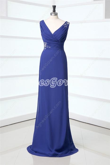 Elegan V-nteckline Royal Blue Mother Of The Bride Dresses