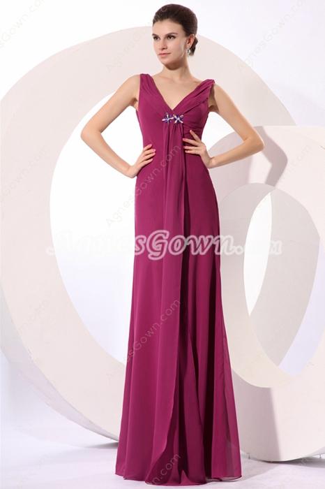 Elegance V-Neckline A-line Chiffon Dark Fuchsia Mother Of The Bride Gown