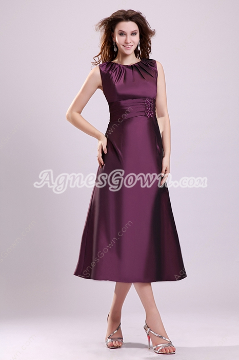 Elegance Jewel Neckline Tea Length Grape Taffeta Wedding Guest Dress