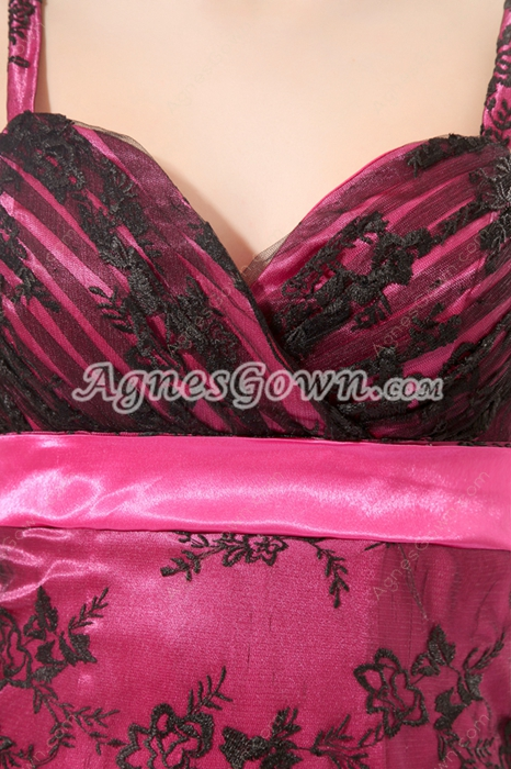 Pretty Spaghetti Straps A-line Black And Fuchsia Lace Prom Dress