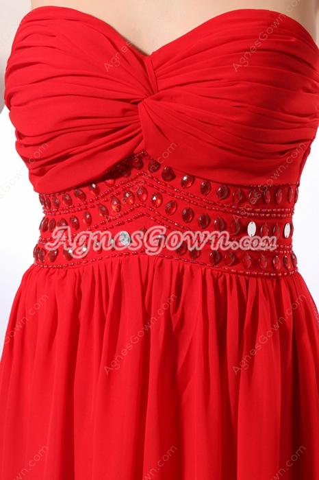 A-line Red Chiffon Long Prom Party Dress