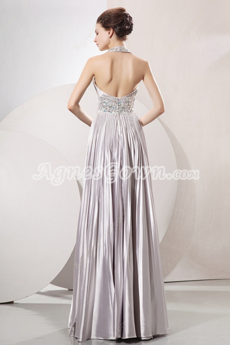 Glamour Silver Satin Empire Full Length Silver Plus Size Prom Dress