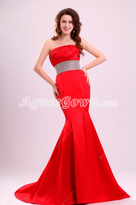 Strapless Red Mermaid Prom Dress
