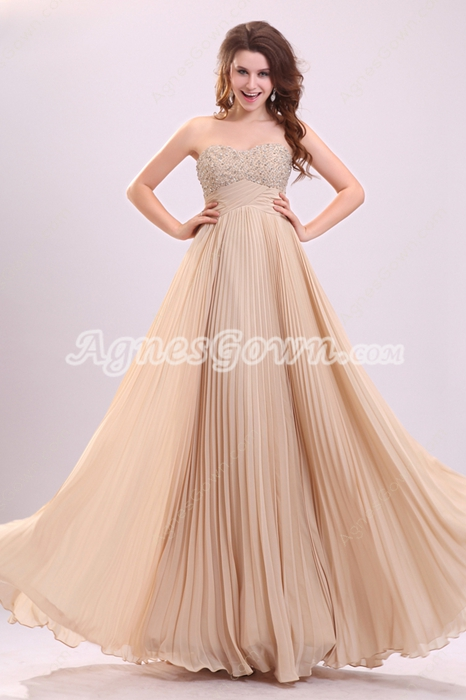 Dazzling Sweetheart A-line Champagne Chiffon Long Pageant Prom Dress With Beads
