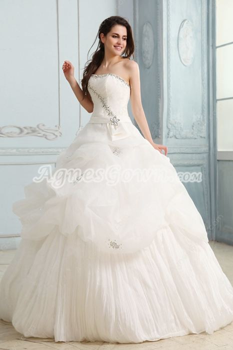 Pretty Strapless Neckline Ball Gown White Tulle Bridal Dress