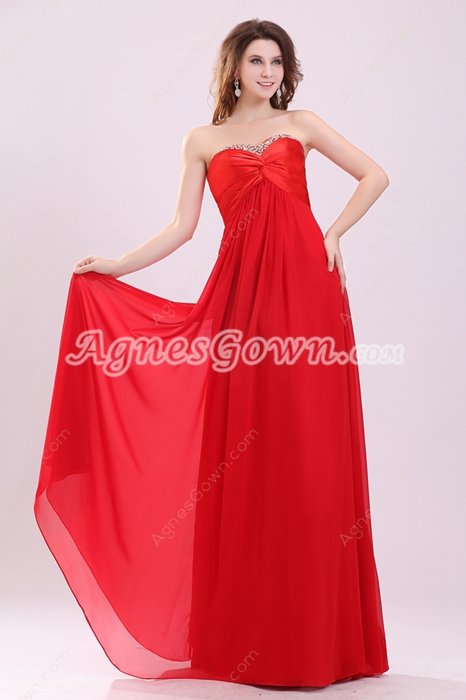 Stunning Red Colored Sweetheart Red Chiffon Long Prom Dress