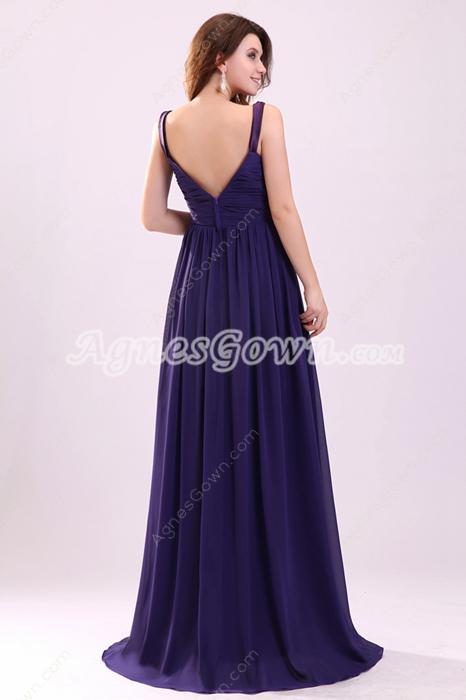 Plunge V-Neckline A-line Floor Length Violet Chiffon Engagement Evening Gown
