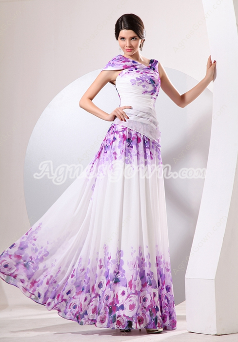Multi-Colored Printed Chiffon Mother Of The Bride Dress