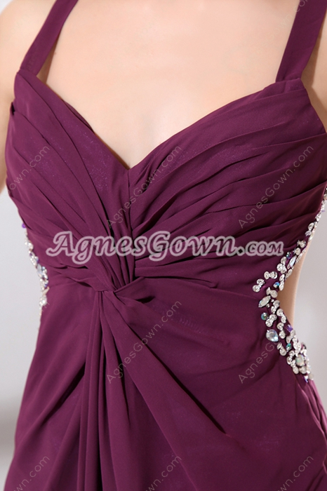 Glamour Double Straps Grape Chiffon High Slit Cocktail Dress