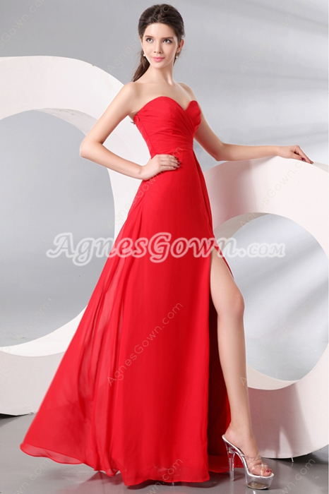 Sweetheart A-line Full Length Red Chiffon Cocktail Dress Front Slit