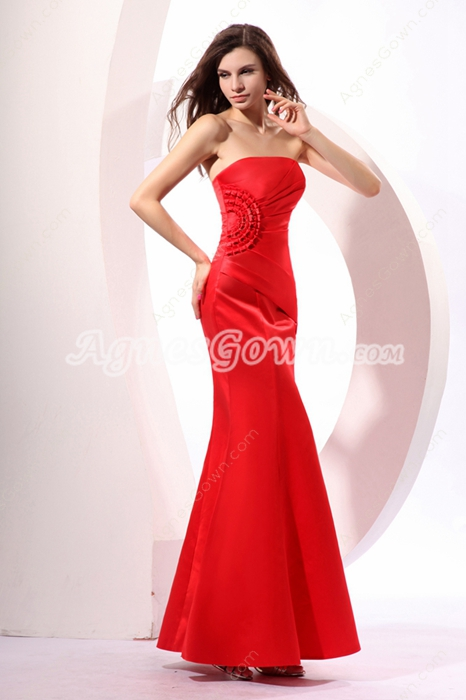 Desirable Strapless Sheath Red Satin Celebrity Evening Dress