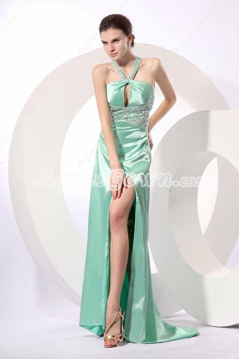 Sexy Straps Sage Satin High Slit Evening Gown