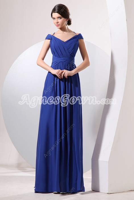 Off The Shoulder Halter Royal Blue Chiffon Casual Evening Gown