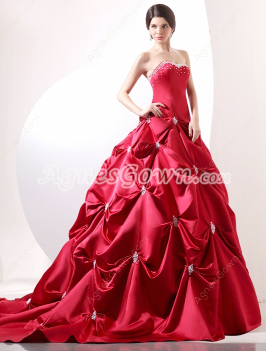Gothic Sweetheart Neckline Red Ball Gown Mature Wedding Dress
