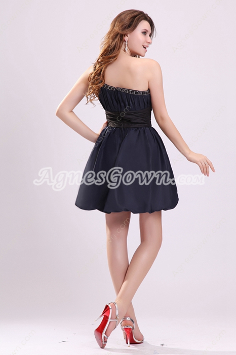 Chic One Shoulder Puffy Mini Length Dark Navy Homecoming Dress