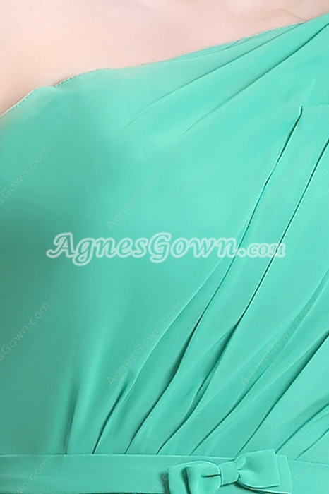 Cheap One Shoulder Knee Length Jade Green Chiffon Junior Bridesmaid Dress