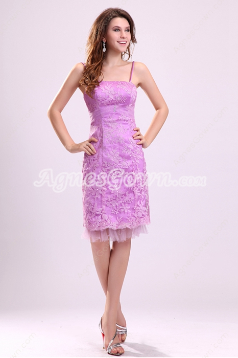 Charming Spaghetti Straps Sheath Knee Length Lilac Lace Wedding Guest Dress