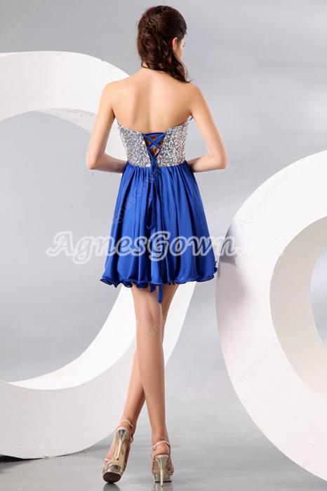 Cute Sweetheart Empire Mini Length Royal Blue & Silver Homecoming Dress