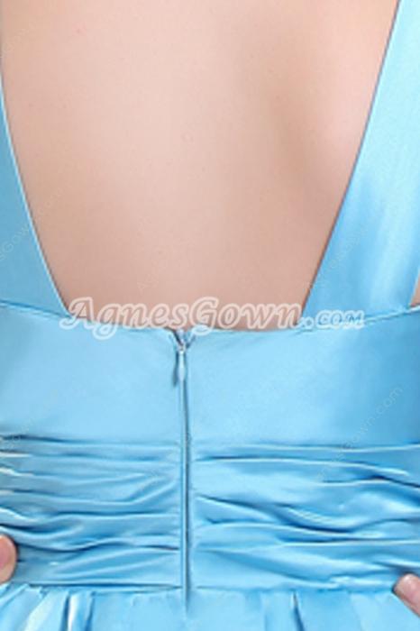 Jewel Neckline Mini Length Blue Satin Graduation Dress