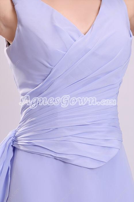 V-Neckline A-line Knee Length Lavender Junior Bridesmaid Dress