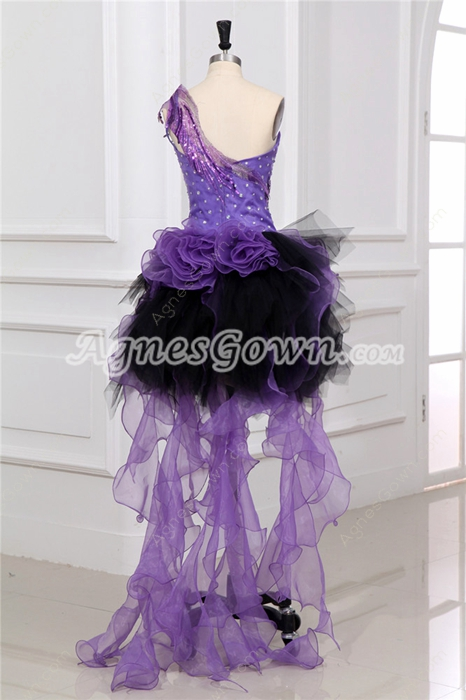 Pretty One Shoulder Lavender And Black Cocktail Dress with Ruffles