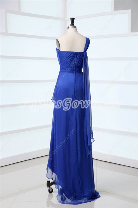 Royal Blue One Shoulder Graduation Ceremony Dresses