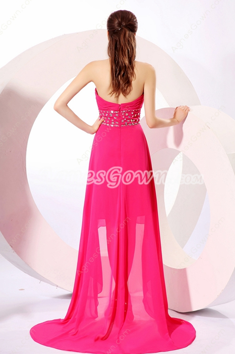 Stunning Sweetheart Hot Pink Chiffon High Low Prom Dress