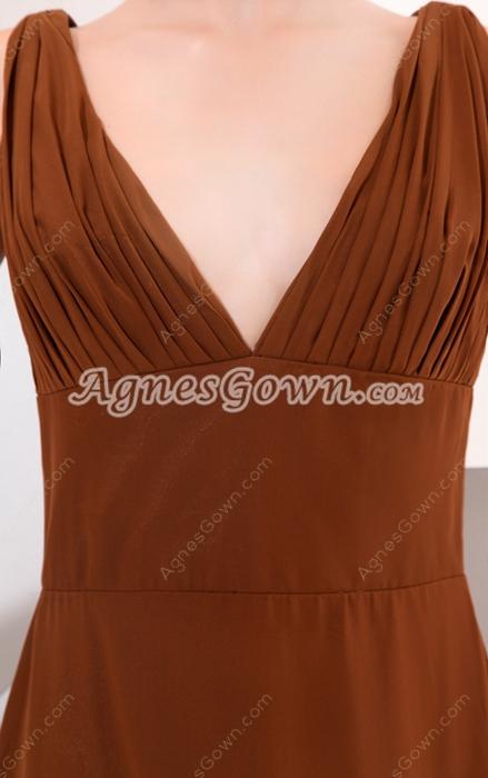 Stunning V-Neckline Column Full Length Brown Chiffon Prom Party Dress