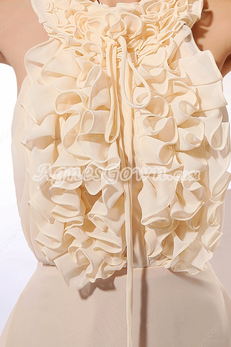 Lively Halter Short Length Champagne Chiffon Graduation Dress For Juniors