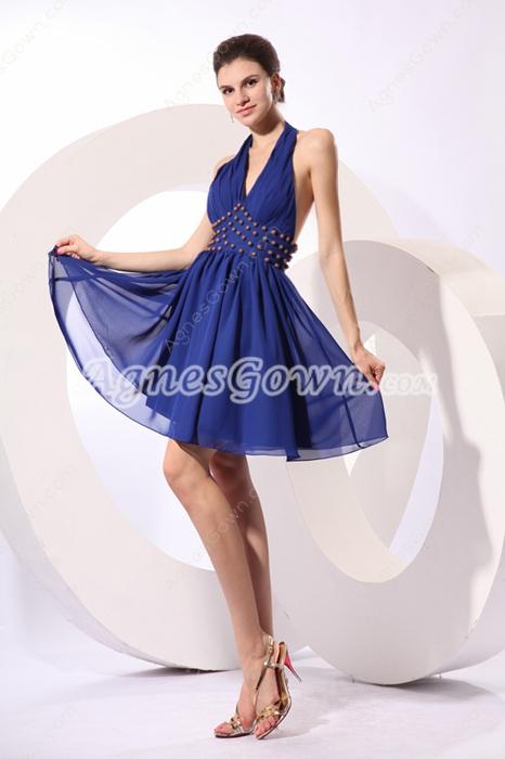Short Length Top Halter Chiffon Royal Blue Cocktail Dress