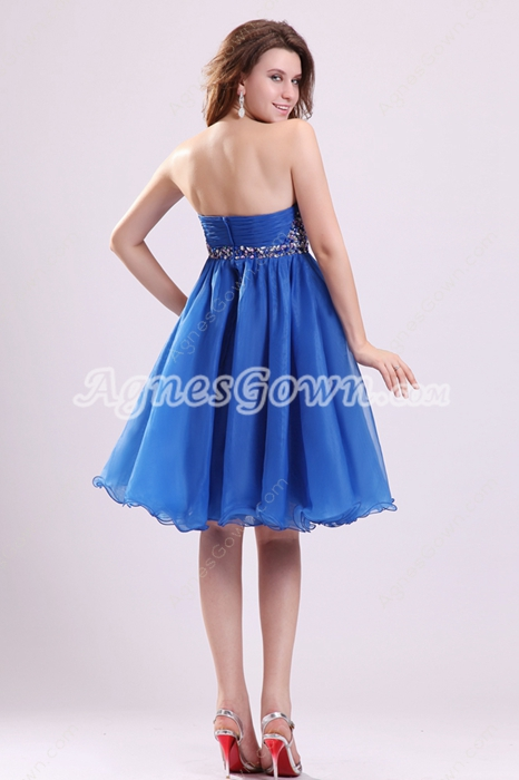 Cute Sweetheart Empire Mini Length Royal Blue Organza Damas Dress