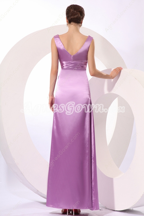 Classical V-Neckline Ankle Length Lilac Bridesmaid Dress