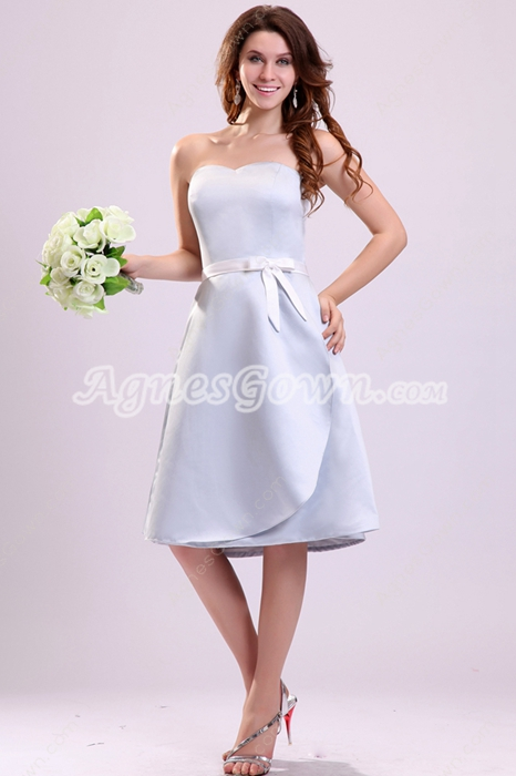 Modest Sweetheart A-line Knee Length Light Sky Blue Bridesmaid Dress