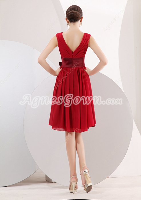 Modest V-Neckline Knee Length Red Chiffon Wedding Guest Dress